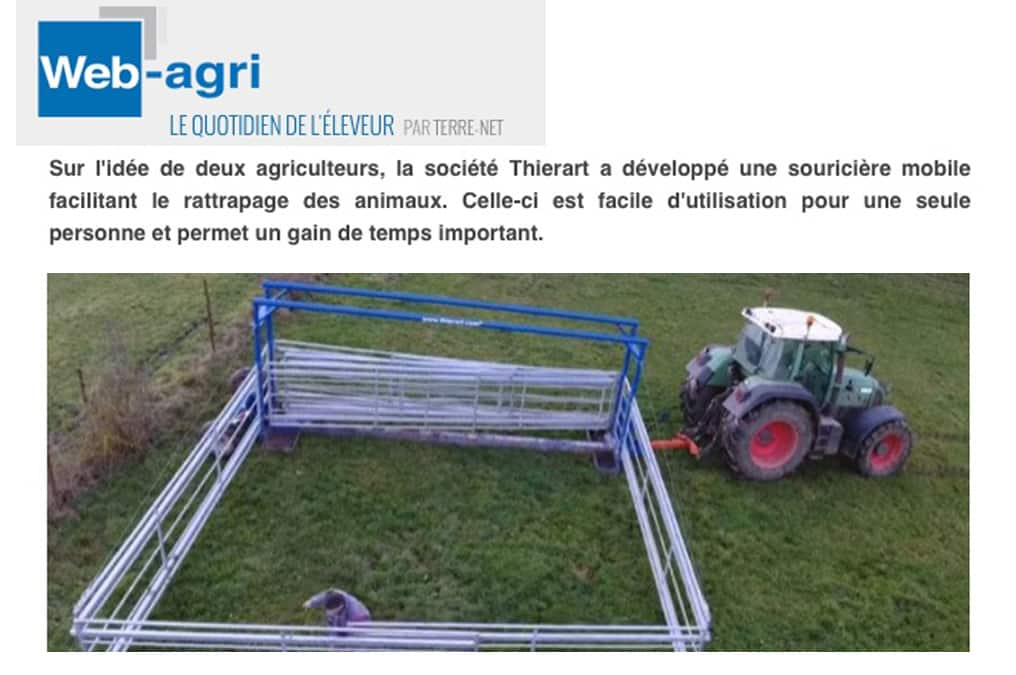 capture d'écran d'un article paru sur le site web-agri.com